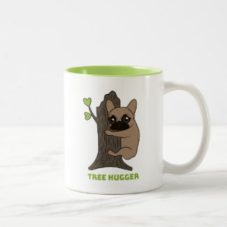 Black mask fawn Frenchie is a cute tree hugger Two-Tone Coffee Mug