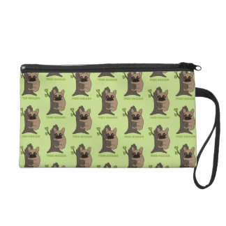 Black mask fawn Frenchie is a cute tree hugger Wristlet