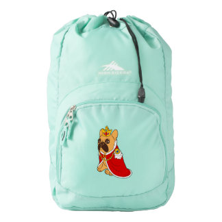 Black mask fawn Frenchie is the King of the house Backpack
