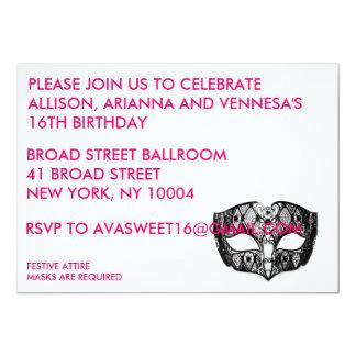 BLACK MASK PARTY INVITATION