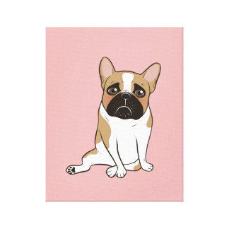 Black Mask Pied French Bulldog Wants Your Love Canvas Print