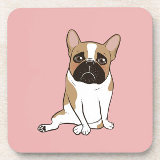 Black Mask Pied French Bulldog Wants Your Love Coaster