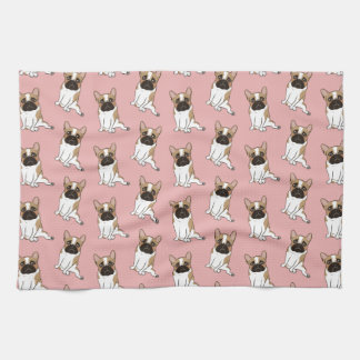 Black Mask Pied French Bulldog Wants Your Love Kitchen Towel