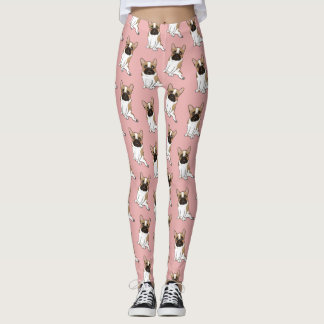 Black Mask Pied French Bulldog Wants Your Love Leggings