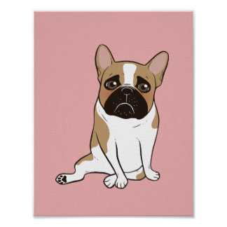 Black Mask Pied French Bulldog Wants Your Love Poster