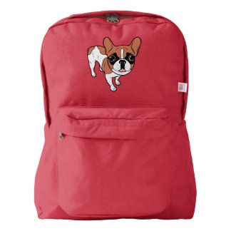 Black Mask Red Pied French Bulldog Backpack