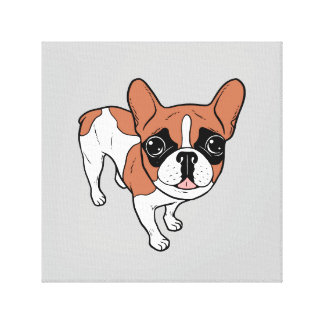 Black Mask Red Pied French Bulldog Canvas Print