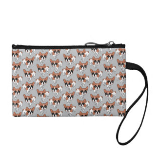 Black Mask Red Pied French Bulldog Change Purse
