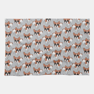 Black Mask Red Pied French Bulldog Kitchen Towel