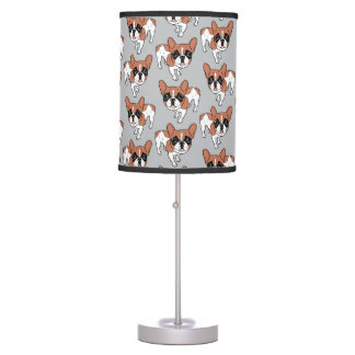 Black Mask Red Pied French Bulldog Table Lamp