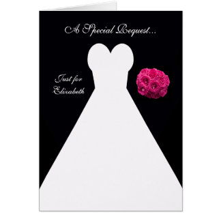Black Matron of Honor Card -- Bridal Gown