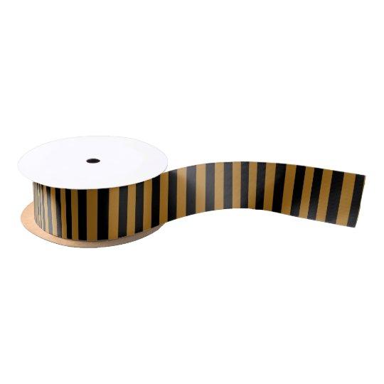 Black/Matte Gold Stripe Satin Ribbon