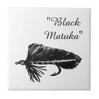 """Black Matuka"" streamer trout fly tile. Tile"
