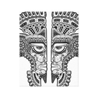 Black Mayan Twins Mask on White Gallery Wrapped Canvas
