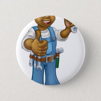 Black Mechanic or Plumber Handyman 2 Inch Round Button