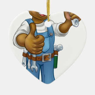 Black Mechanic or Plumber Handyman Ceramic Ornament