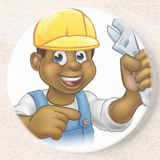 Black Mechanic or Plumber Handyman Coaster