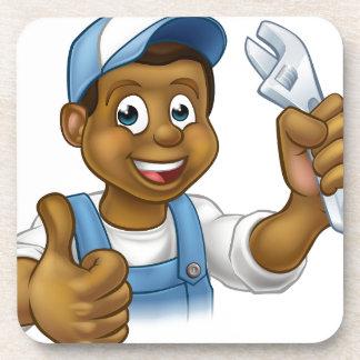 Black Mechanic or Plumber Handyman Drink Coaster