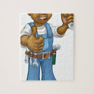 Black Mechanic or Plumber Handyman Jigsaw Puzzle
