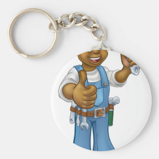 Black Mechanic or Plumber Handyman Keychain