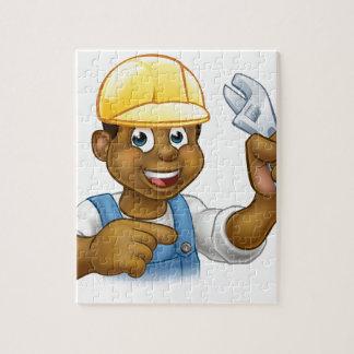 Black Mechanic or Plumber Handyman Puzzle