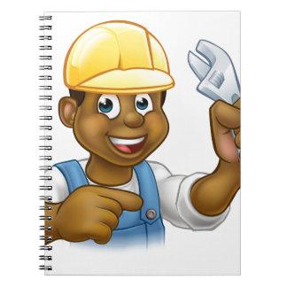 Black Mechanic or Plumber Handyman Spiral Notebook