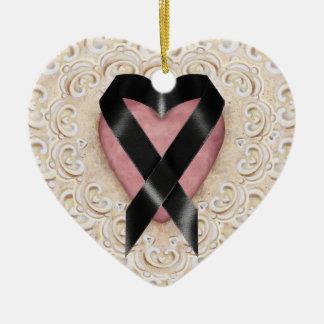 Black Melanoma Ribbon From the Heart - SRF Ceramic Heart Ornament