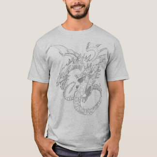 Black Mens Clever Composition Dragon T-Shirt
