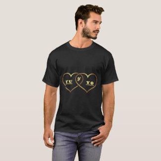 Black mens tshirt - gold heart design