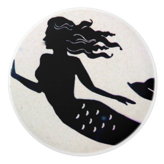 black mermaid ceramic knob