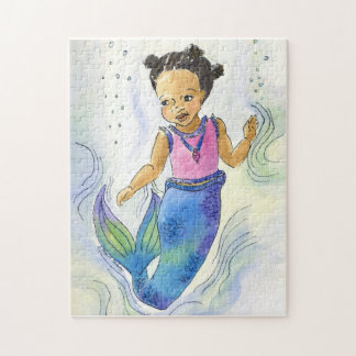 Black Mermaid Princess Girl puzzle