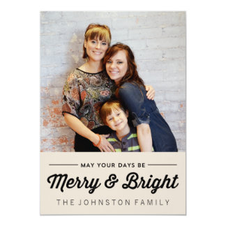 "Black Merry & Bright Christmas Photo Flat Cards 5"" X 7"" Invitation Card"