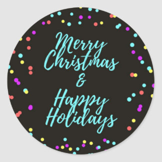 Black Merry Christmas & Happy Holidays - Classic Round Sticker