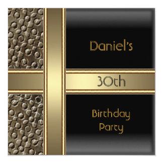 Black Metal  Bronze 30th Birthday Party Mens Card