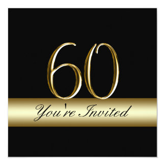 Black Metal Gold Print 60th Birthday Invitations