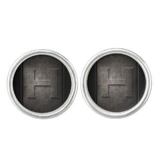 Black Metal H Monogram Pair of Cufflinks
