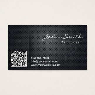 Black Metal QR Code Tattoo Art Business Card