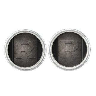 Black Metal R Monogram Pair of Cufflinks