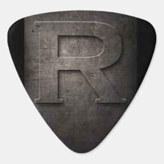 Black Metal Rustic R Monogram Guitar Pick