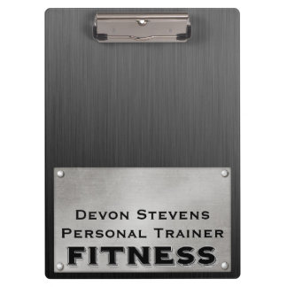 Black Metal Silver Fitness Clipboard