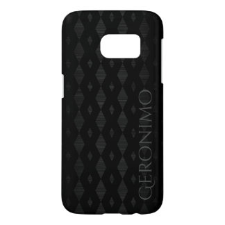 black metal with braid pattern and name samsung galaxy s7 case