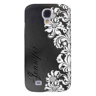 Black Metallic Background & White Floral Lace