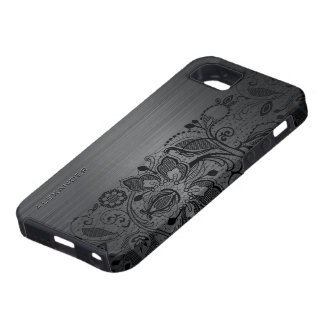 Black Metallic Brushed Aluminum & Black Lace iPhone 5 Cases