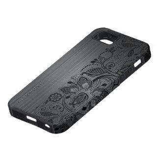Black Metallic Brushed Aluminum & Black Lace iPhone 5 Cover