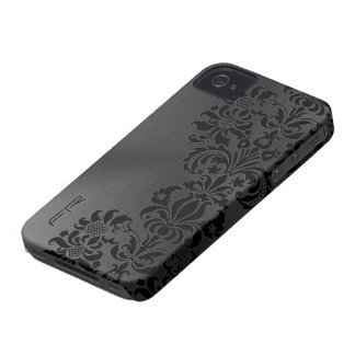 Black Metallic Brushed Aluminum & Floral Damasks iPhone 4 Covers