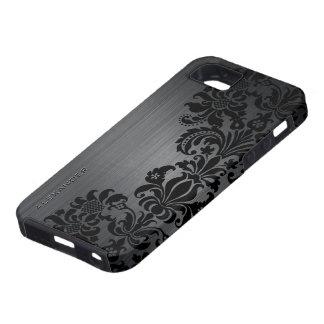 Black Metallic Brushed Aluminum & Floral Damasks iPhone 5 Case
