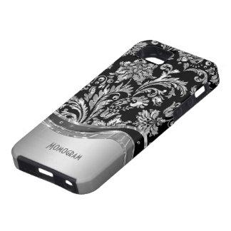 Black & Metallic Damasks Pattern Case For The iPhone 5