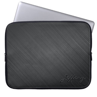 Black Metallic Design-Brushed Aluminum Look 2 Laptop Sleeve
