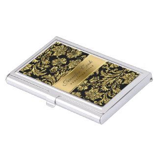 Black & Metallic Faux Gold Damasks Pattern Business Card Holder