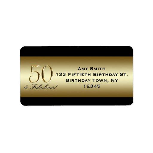 Black Metallic Gold 50th Birthday Custom Address Label